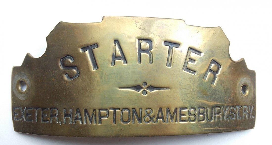 Exeter Hampton & Exeter St Ry Starter Hat Badge
