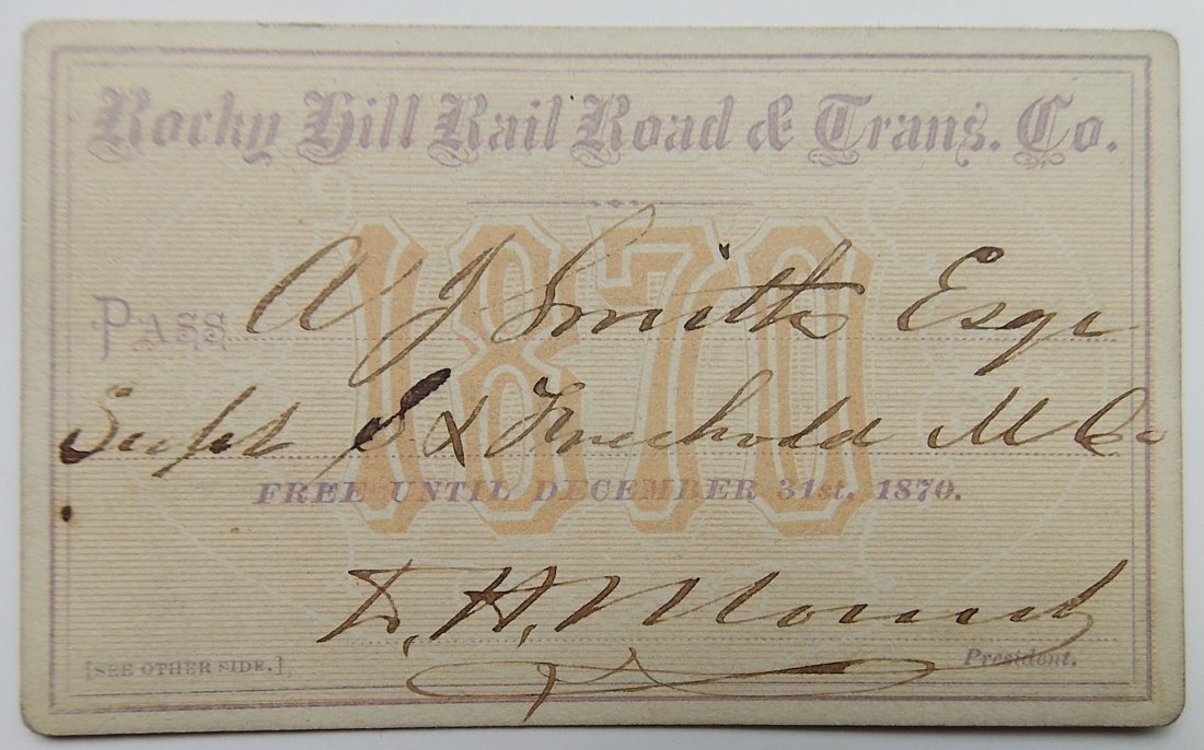 Rocky Hill Railroad & Transportation Co. 1870 Pass