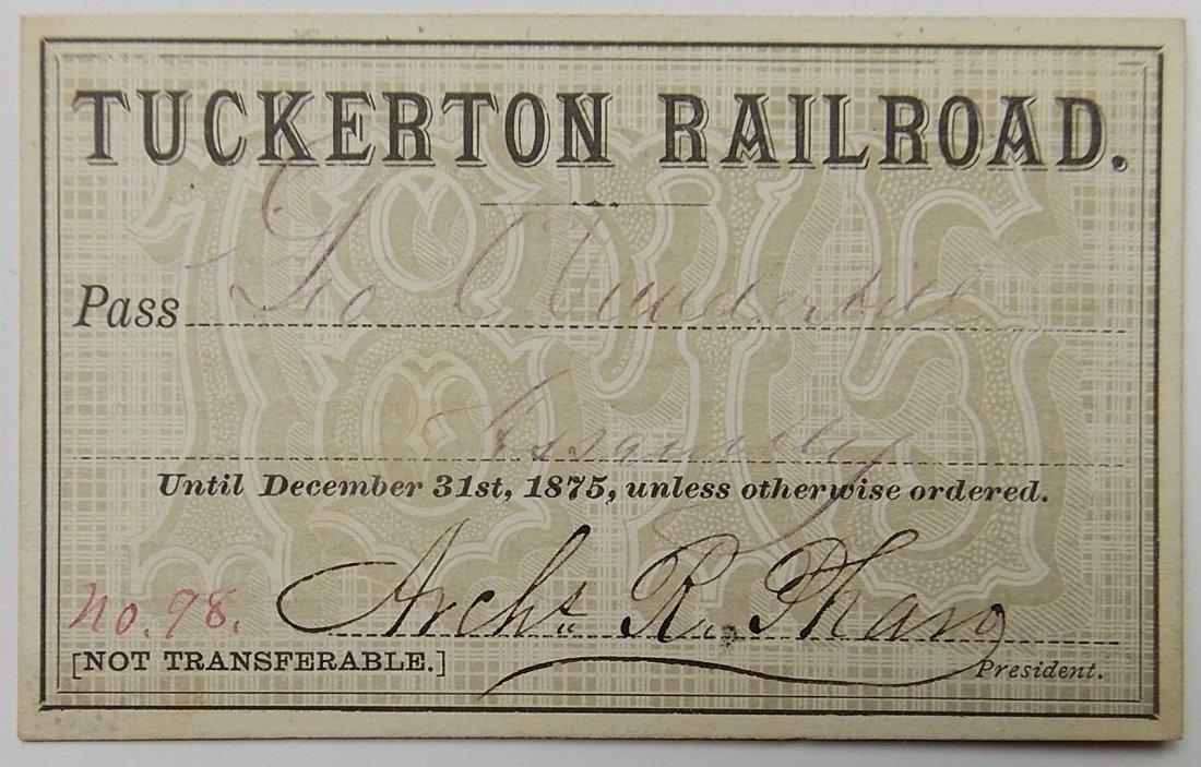 Tuckerton Railroad 1875 Annual Pass
