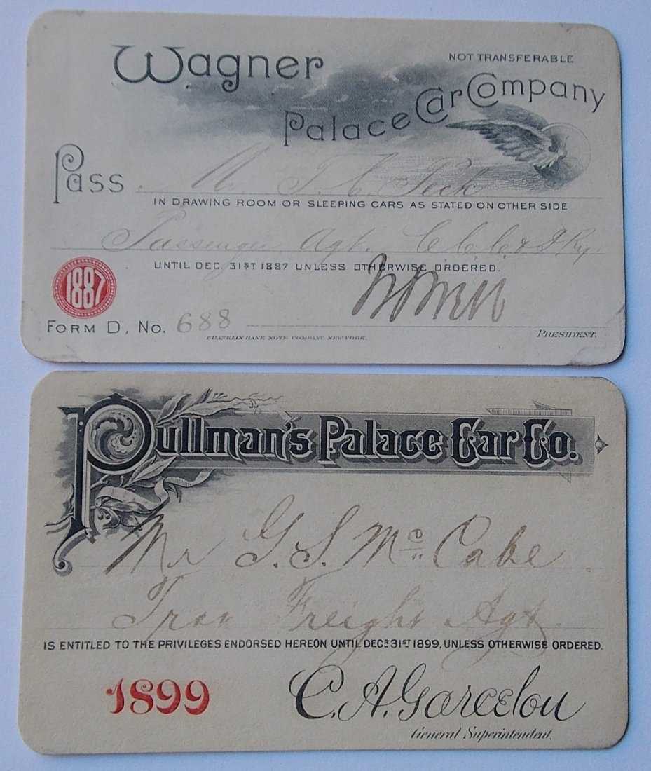 Pullman & Wanger Palace Car Passes (2)
