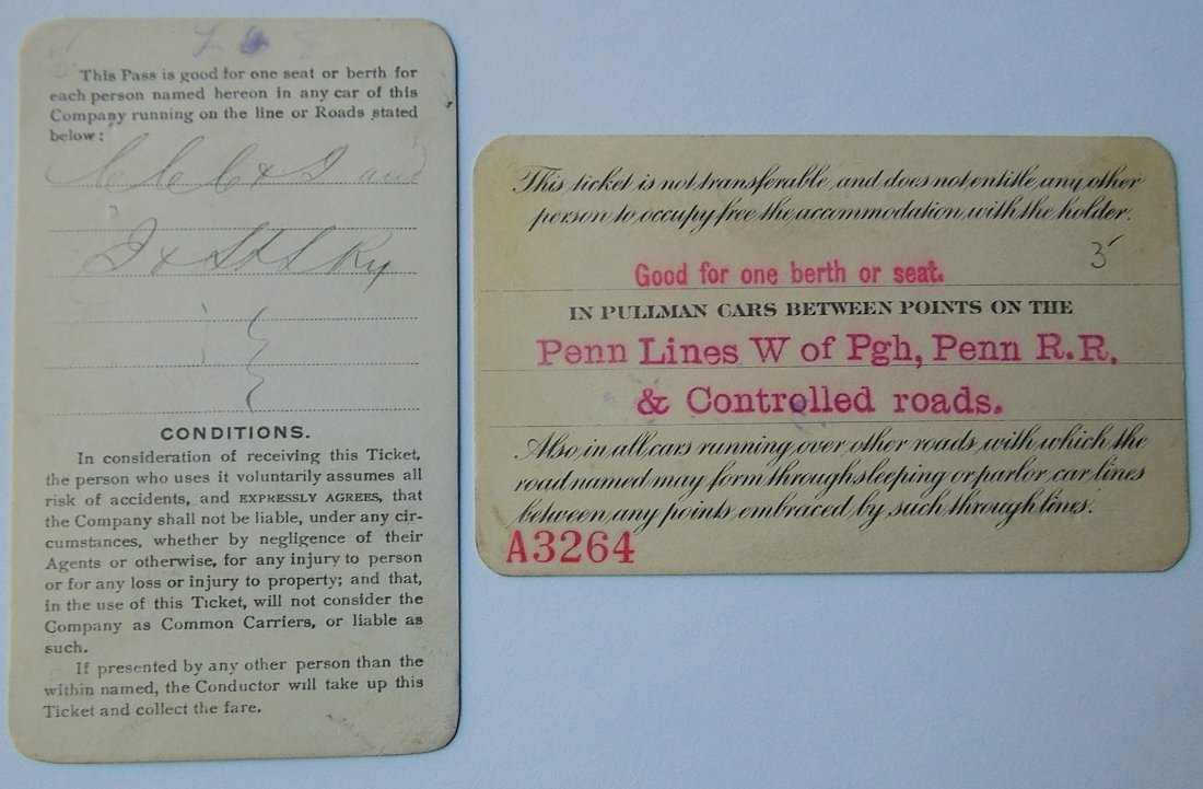Pullman & Wanger Palace Car Passes (2) - 2