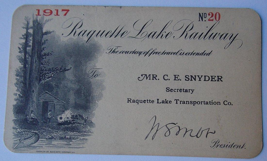 Raquette Lake Railway 1917 Annual Pass