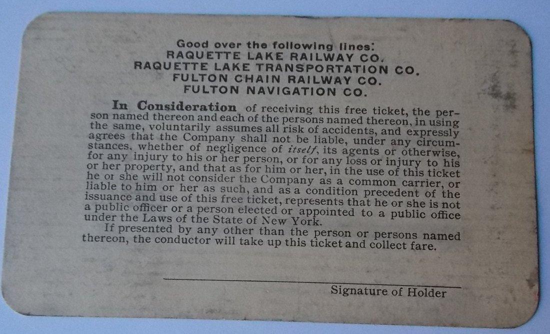 Raquette Lake Railway 1917 Annual Pass - 2