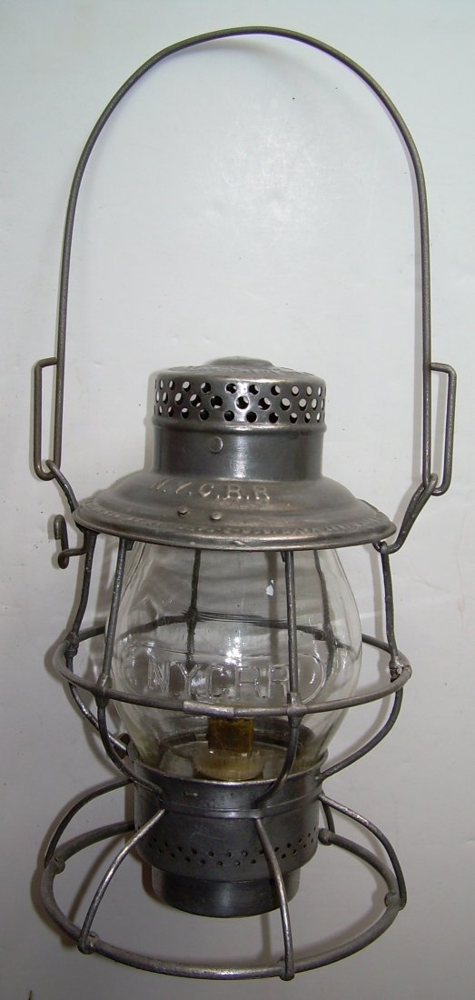 New York Central Railroad Tall Lantern Cast Globe