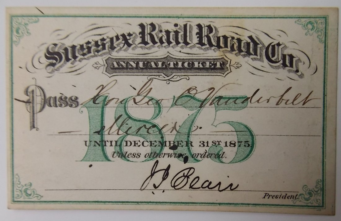 Sussex Railroad 1875 Annual Pass
