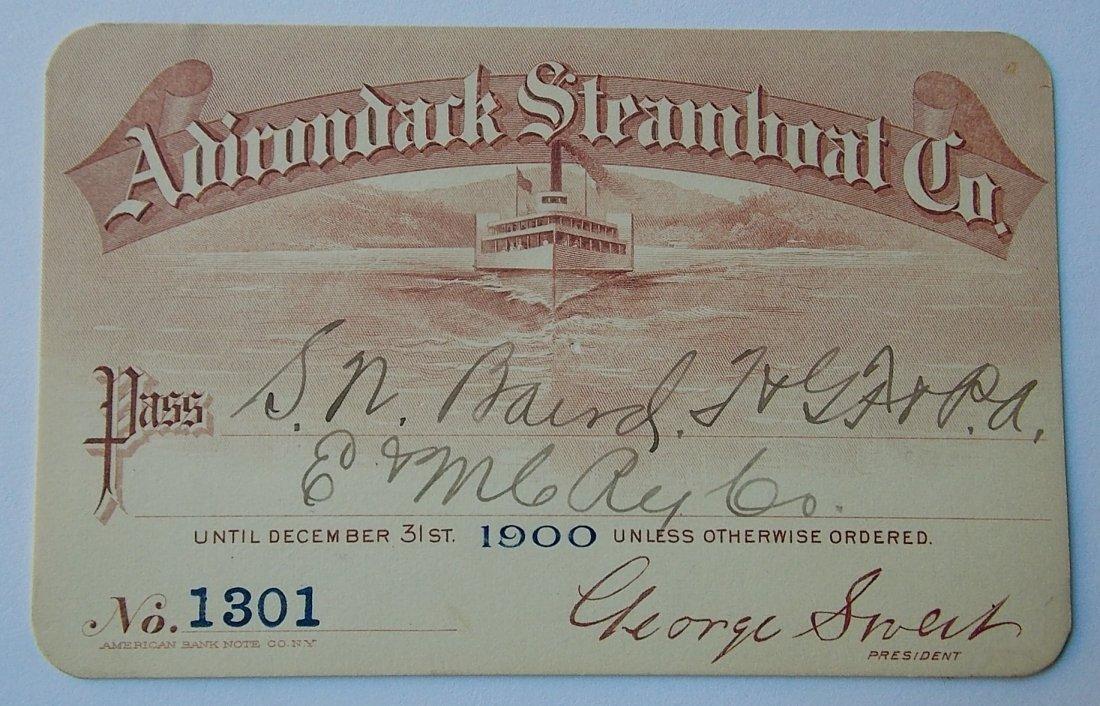 Adirondack Steamboat Company Pass 1900