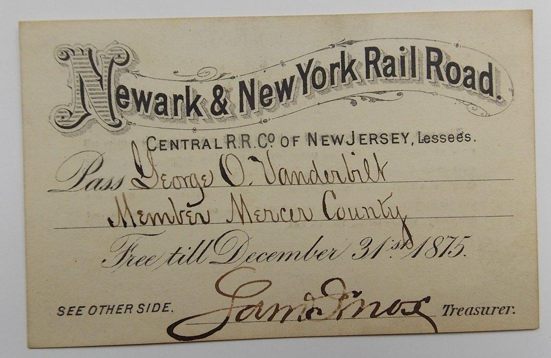Newark & New York Railroad Annual Pass 1875