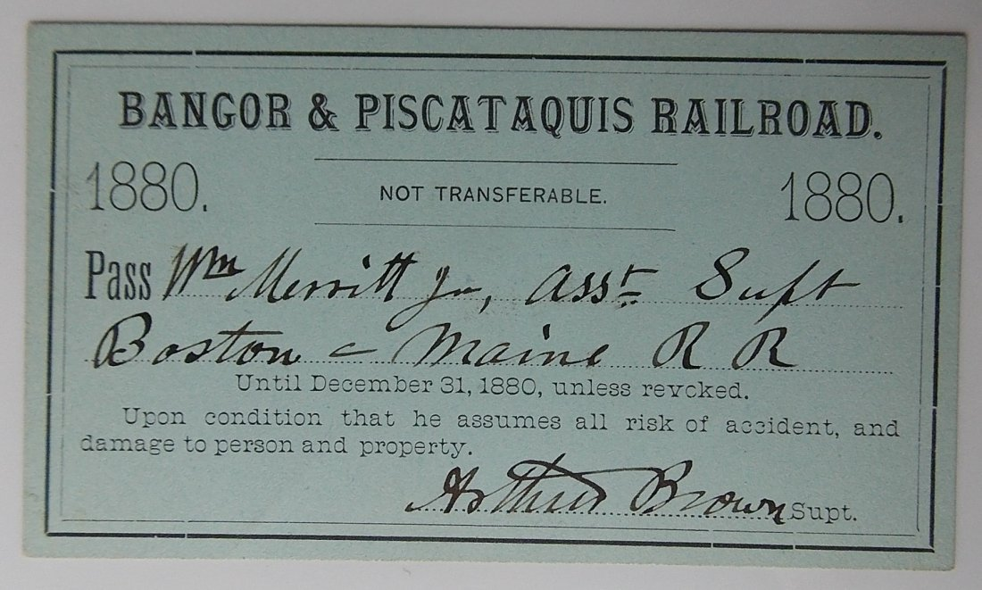 Bangor & Piscataquis Railroad Pass 1880