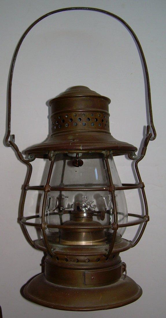 """Porter & Sons Brass Lantern DL&W 6"""" Cast Globe"""