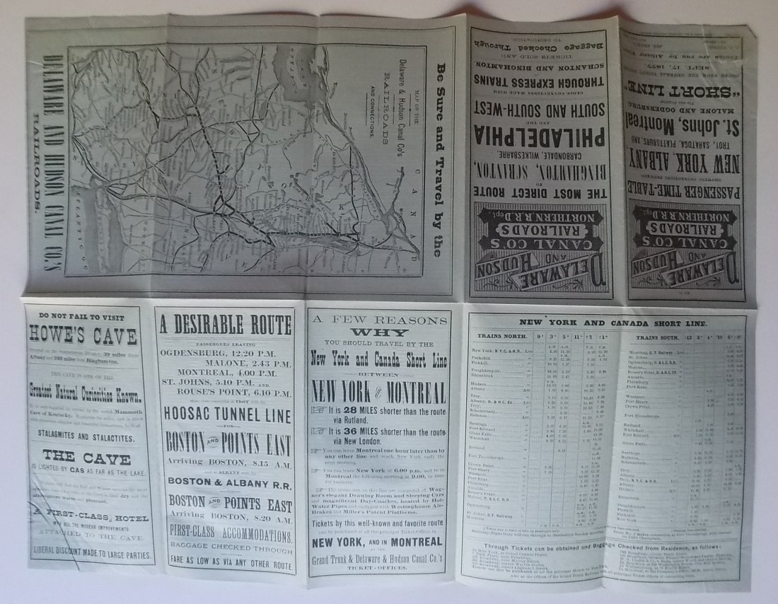 Delaware & Hudson Canal Company 1877 Timetable - 2