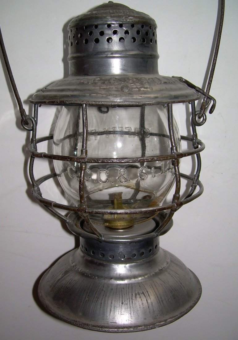 Big Four Railroad Bellbottom Lantern nice Globe - 2