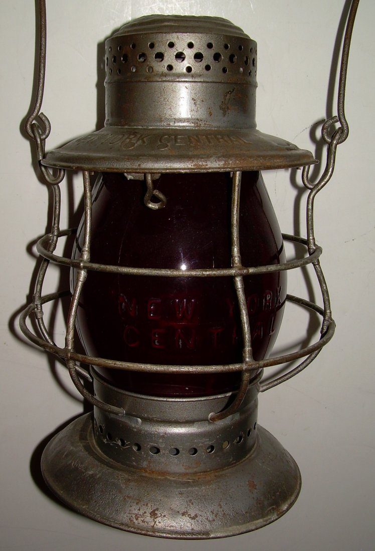 New York Central Bellbottom Lantern Red Cast Globe