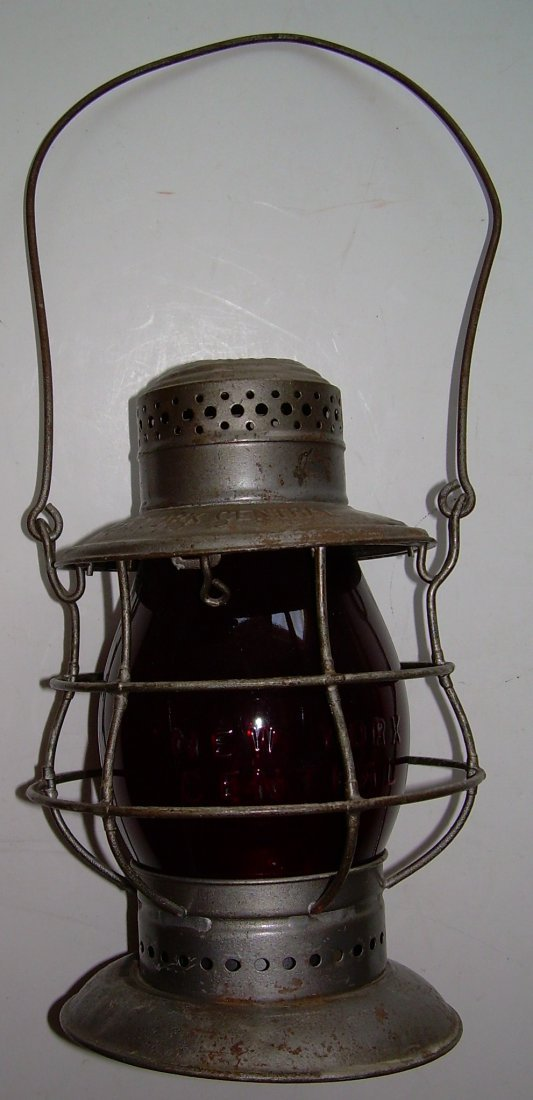 New York Central Bellbottom Lantern Red Cast Globe - 2