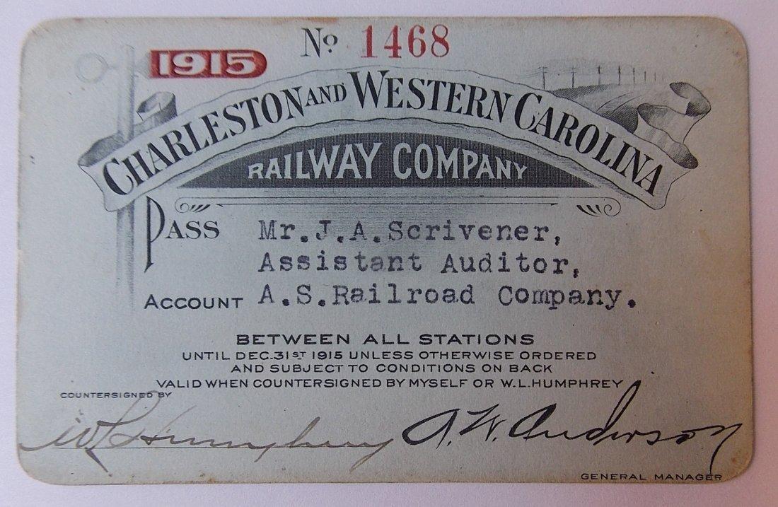 Charleston & West Carolina Railway Pass 1915