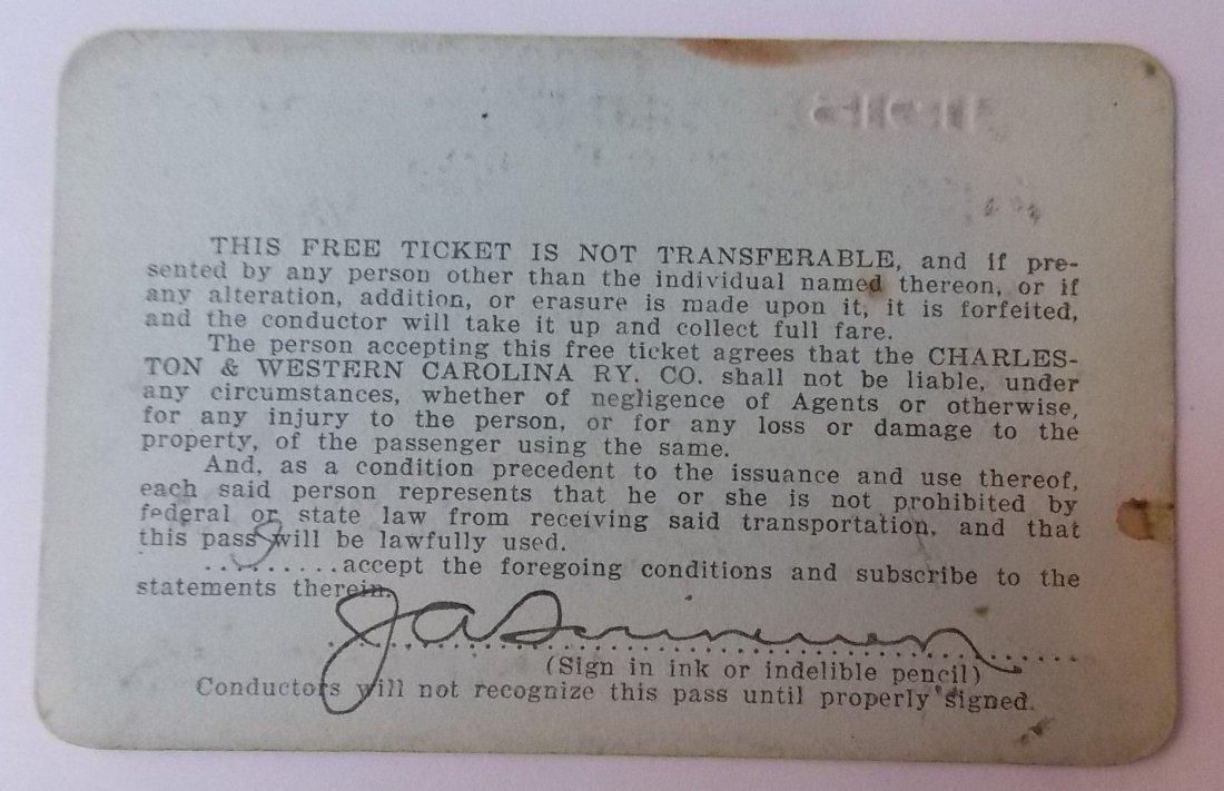 Charleston & West Carolina Railway Pass 1915 - 2