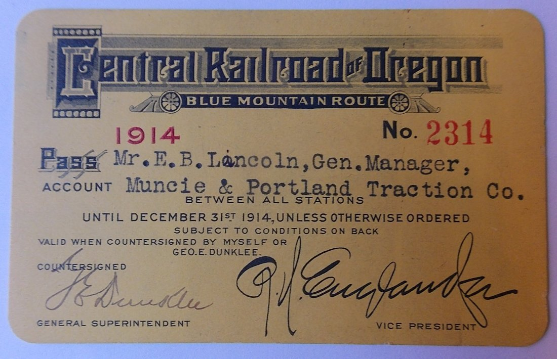 Central Railroad of Oregon Pass 1914