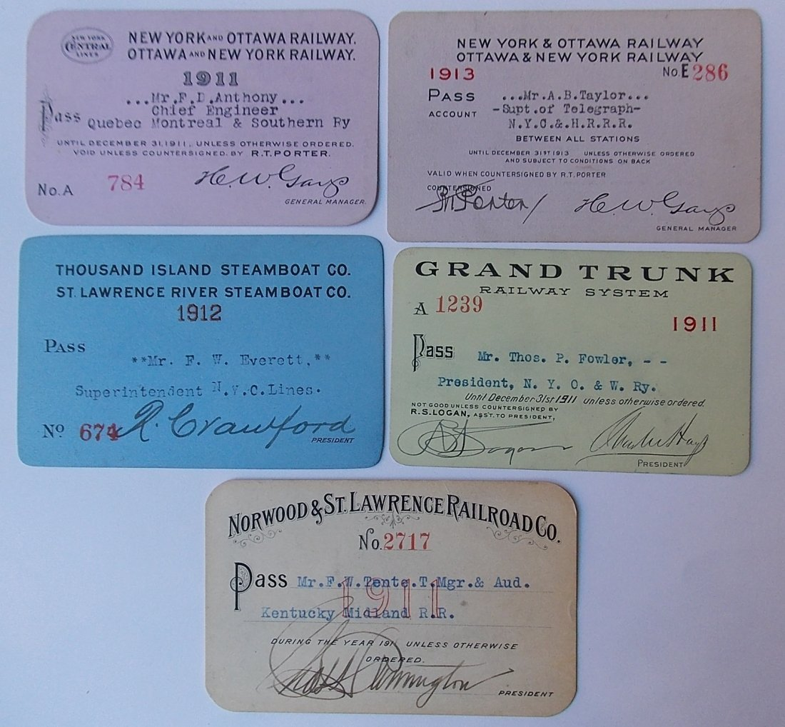 Canadian Railway Passes (5) NY&O, GTR