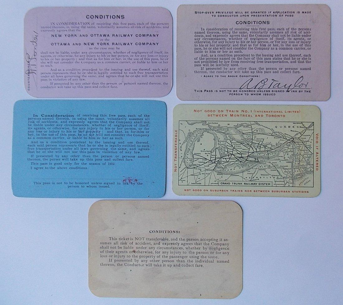 Canadian Railway Passes (5) NY&O, GTR - 2