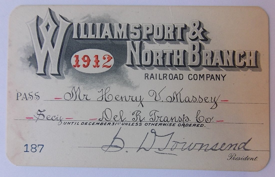 Williamsport & North Branch Pass 1912