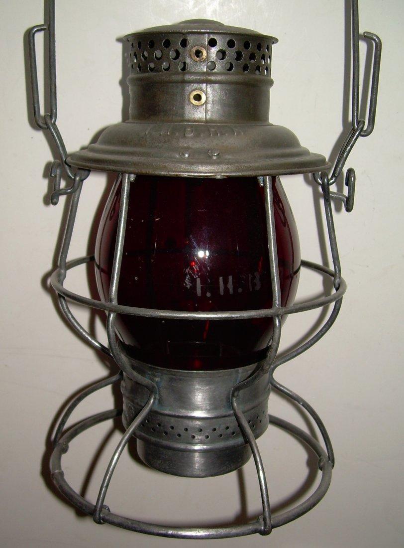Indiana Harbor Belt Railroad Lantern Red Etched Globe