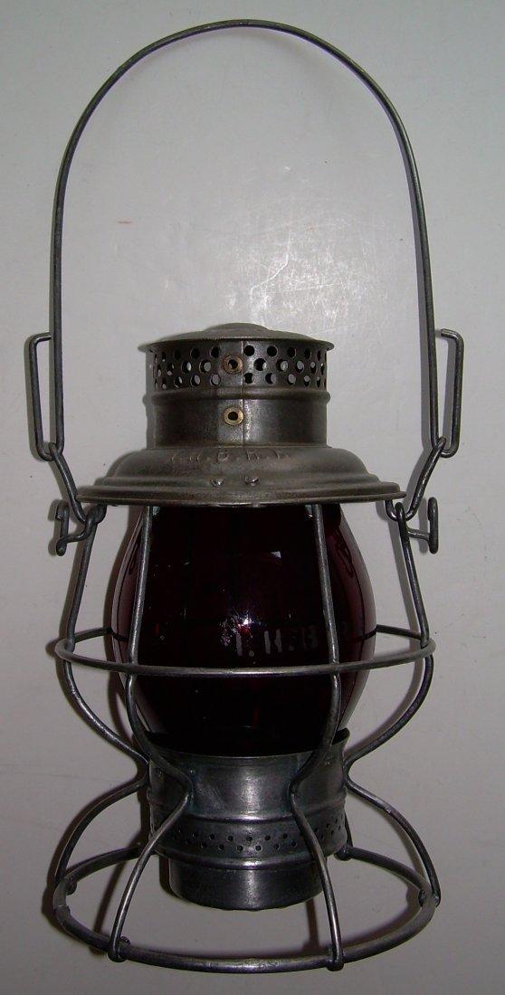 Indiana Harbor Belt Railroad Lantern Red Etched Globe - 2