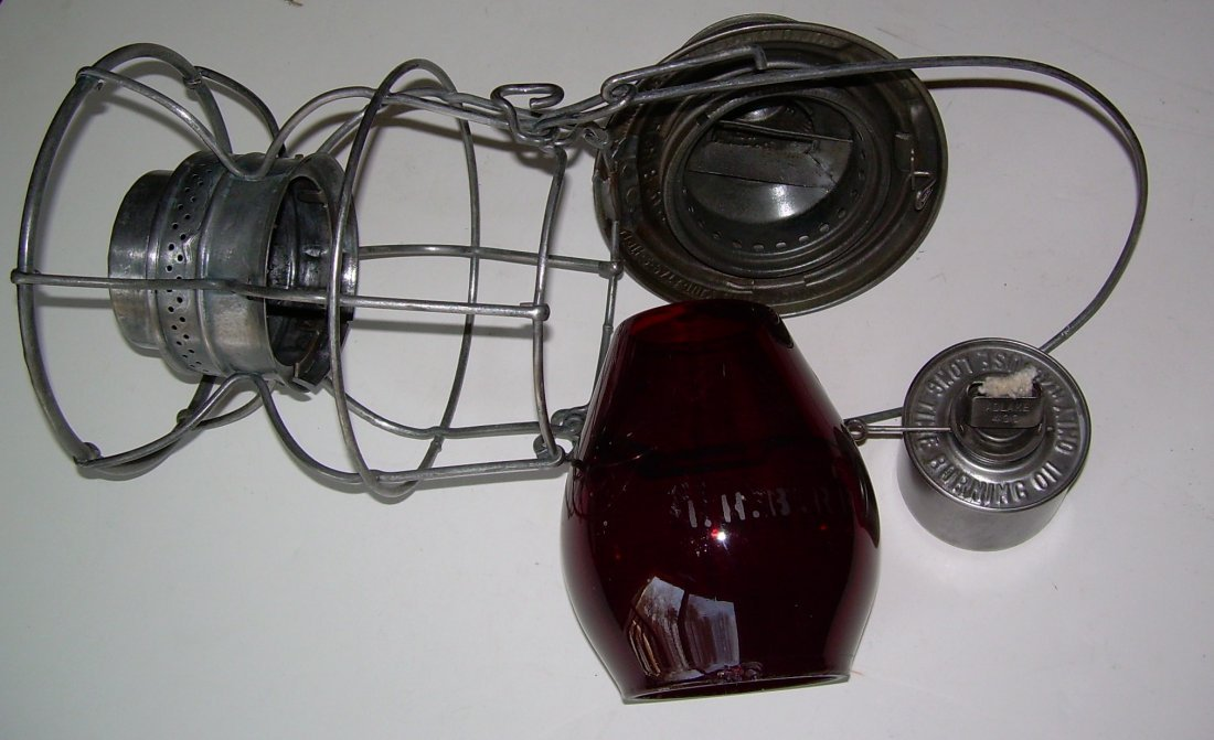 Indiana Harbor Belt Railroad Lantern Red Etched Globe - 6