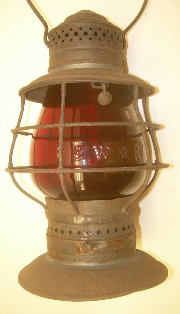 P & W RR Red Cast Flashed Globe BTBB Frame Lantern
