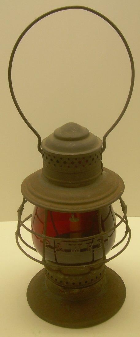 P & W RR Red Cast Flashed Globe BTBB Frame Lantern - 2