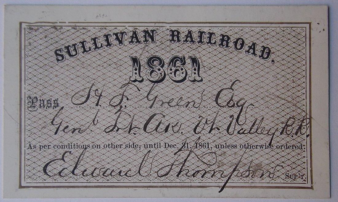 Sullivan Railroad Annual Pass 1861