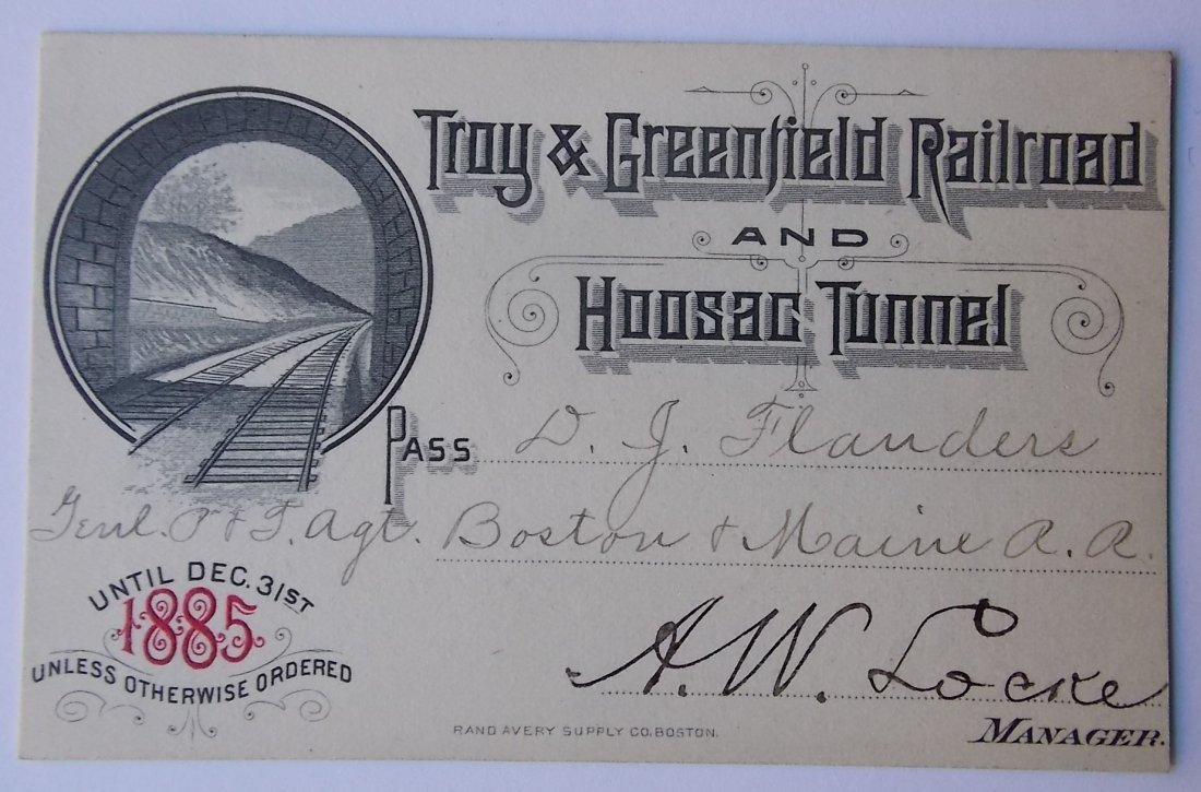 Troy & Boston Rairload Pass 1885 Hoosac Tunnel