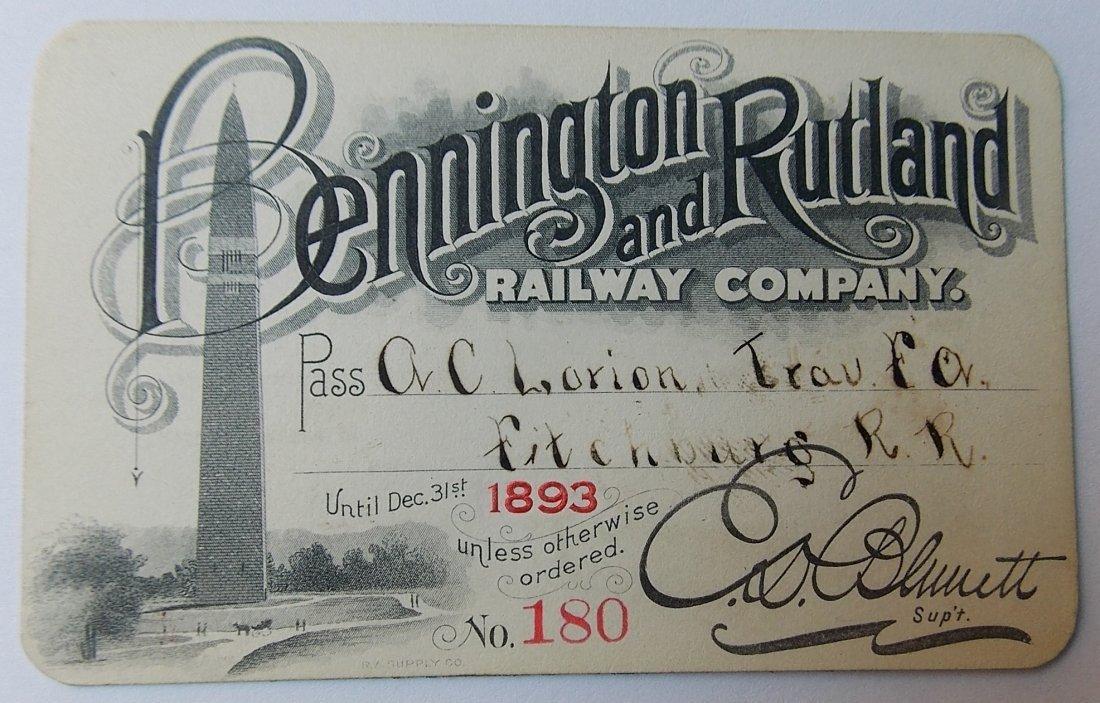 Bennington & Rutland Railroad Pass 1893