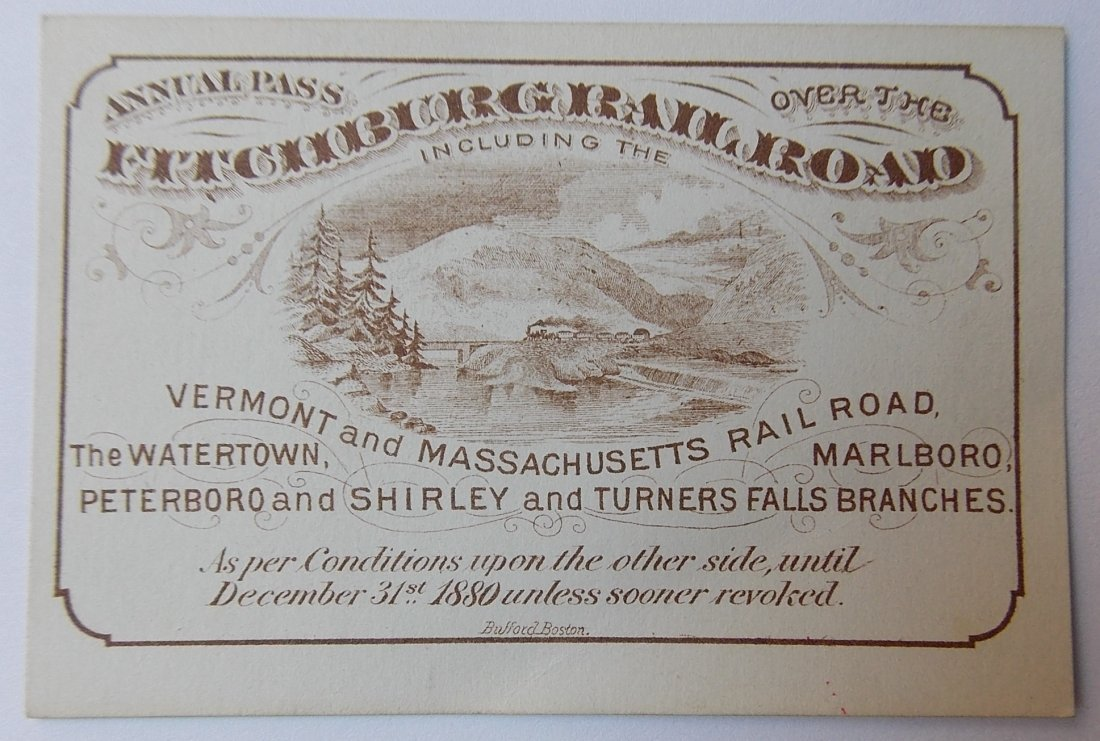 Fitchburg Rialroad Annual Pass 1880