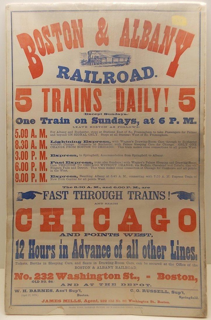 Boston & Albany 1876 Broadside Notice