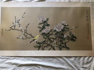 Bird on branch painting