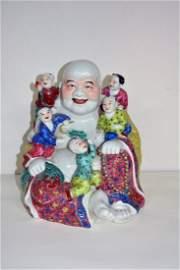 Chinese Porcelain happy  Buddha Statue w/ five children