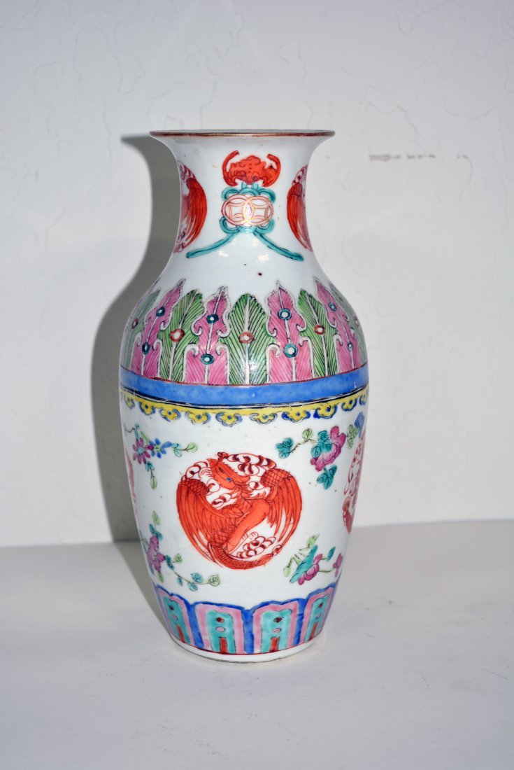 Porcelain Vase with  red and blue markings