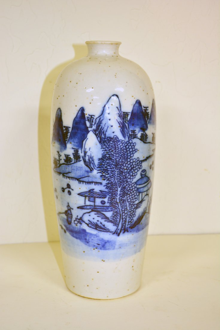 White and blue porcelain vase