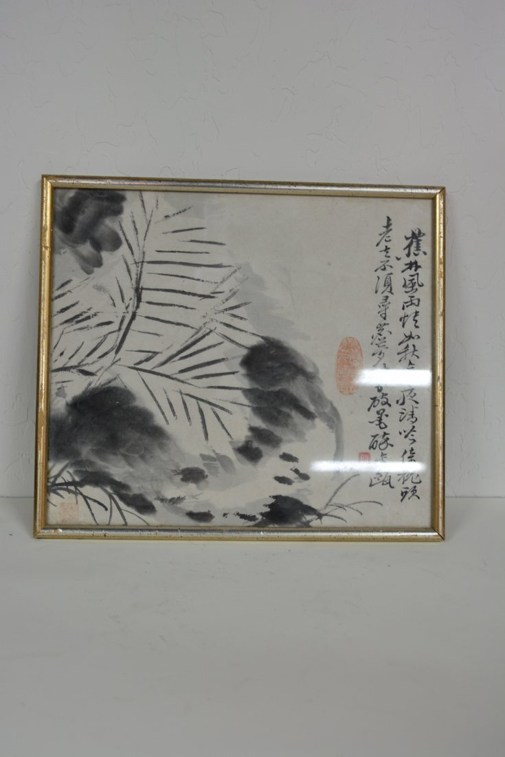 Chinese ink painting with leaves and stream