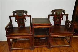 2 Mahogany wood Chairs with stand