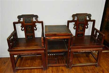 French designed leather Chair 2 Mahogany wood Chairs with stand - Karen Huang - Antique Chinese Rosewood Furniture