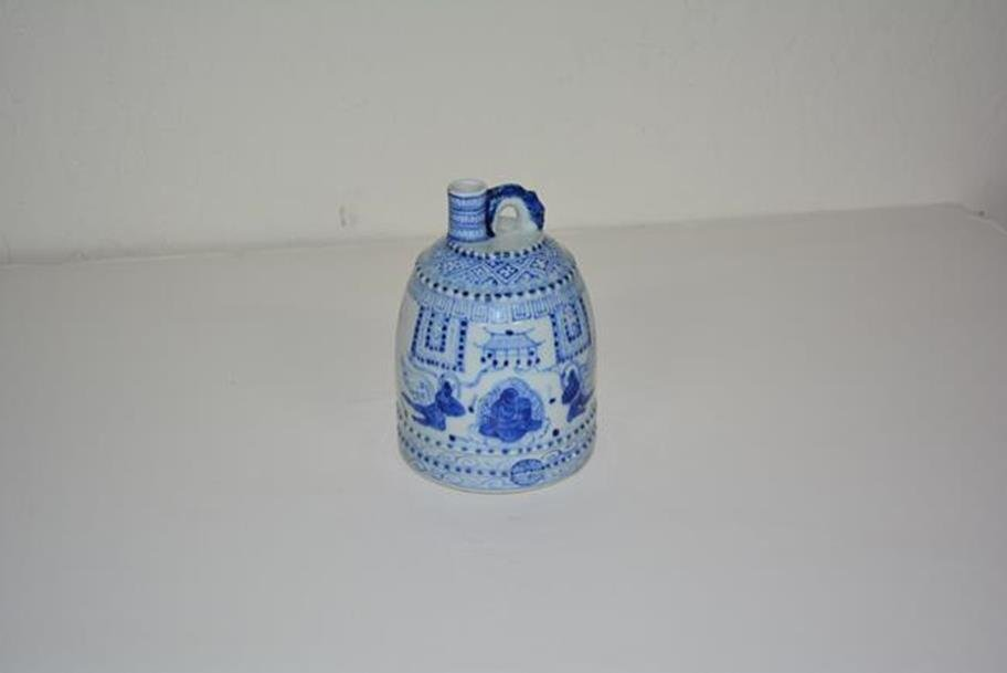 Small blue and white pitcher