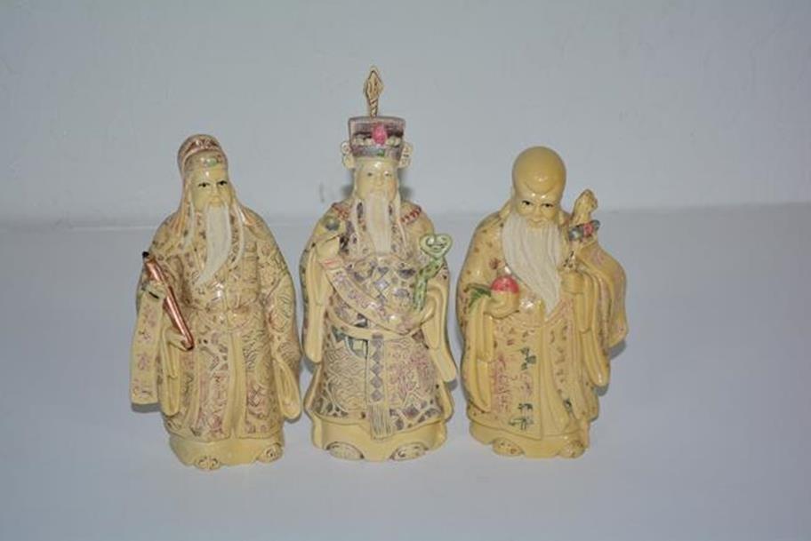 Trio of Judge, Long Life, Prosperity Gods, ox bone