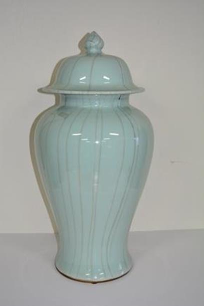 American Large Porcelain light blue vase