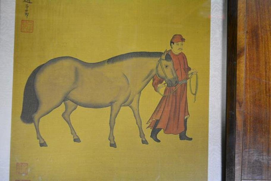 Painting of Horse and man