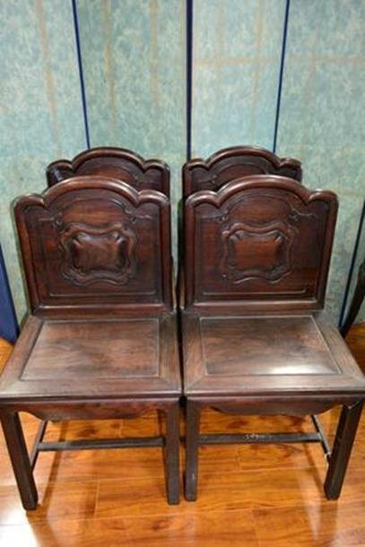 4 Rosewood carved Chairs