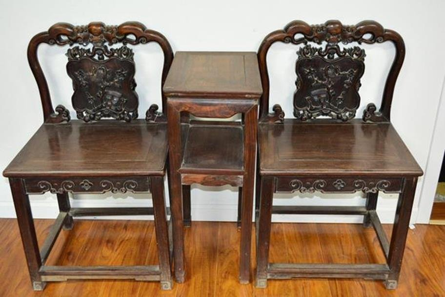 2 Chairs and Stand Rosewood