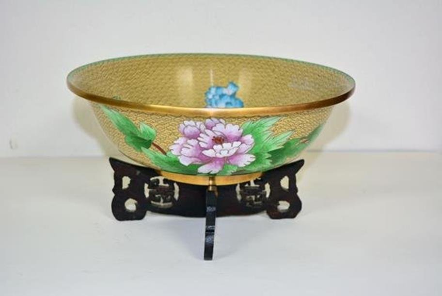 Gold cloisonne Bowl with peonies and bird.
