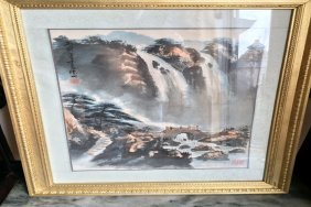Framed Painting Of Waterfall