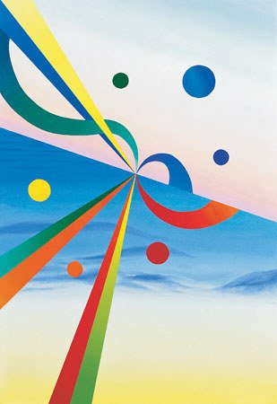 3011: Abstract Painting Blue American Canvas Lebow