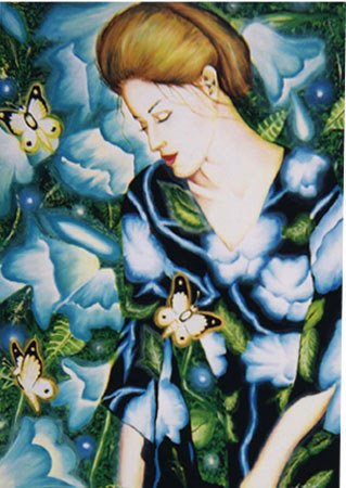 3020: Oil Painting Woman American Blue Latorre